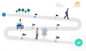 people walking on a path icon